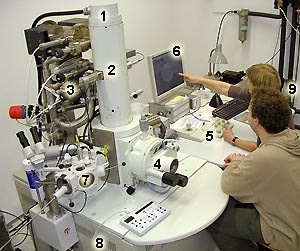 Photograph of a scanning electron microscope